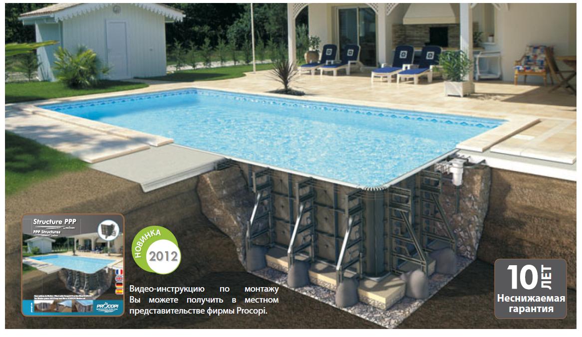 схема установки оборудования в бассейне
